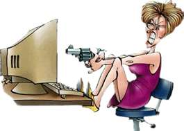 Woman shooting computer