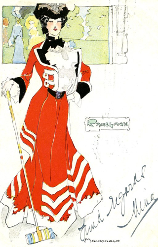 Postcard_depicting_a_woman_with_croquet_mallet_(14245220034)